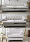 Oxford Chesterfield Light Grey Sofa 3 + 2 + 1 Seater Fabric White Linen Opera