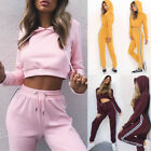 Womens Fashion Tracksuit Hoodies Sweatshirt Crop Hoody Tops   Pants Sport Set