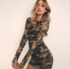 US Womens Casual Long Sleeve Bandage Bodycon Evening Party Cocktail Mini Dress