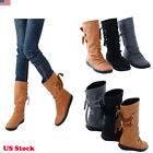 Us Womens Ladies Fashion Lace Up Back Flat Boots Shoes Winter Round Toe Shoes