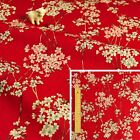JAPANESE RED Meter/Squares Cotton Fabric Scarlet Oriental Kimono Floral Flowers