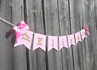 Princess Pink and Gold Birthday Name Banner