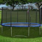 Trampoline w/ Safety Enclosure Net Padding and Ladder Round 10/12 Feet 8 Pole BP