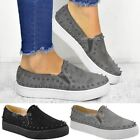 Womens Ladies Studded Flat Skaters Casual Hi Flatform Sneakers Pumps Size UK