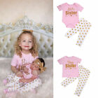 Matching Clothes Big Sister T-shirt Little Sister Romper+Long Pants Outfits Set