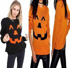 Womens Unisex Halloween Pumpkin Print Jumper Top Ladies Long Sleeve Sweater