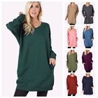 Women's V-Neck Long Sleeve Over-Sized Long Tunic Top Pocket Sweatshirts Sweater