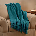 "Throw Blanket Pom Pom Yarn TEAL IVORY TAUPE 70"" x 50"" Light Weight Very Soft  ~"