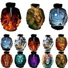Galaxy Animal Graphic 3D Print Unisex Drawstring Hoodie Sweatshirt Pullover Tops for sale  Shipping to Ireland