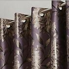 LUXURY METALLIC JACQUARD,LINED RING TOP CURTAINS IN THREE COLOURS