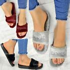 Womens Ladies Fur Slides Sliders Love Slippers Comfort Cushioned Slip On Size