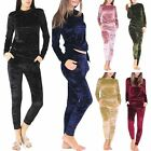 Womens Velour Velvet Fitness Yoga Running Lounge Sweat Shirt Ladies Tracksuit