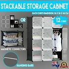 12 DIY Cube Storage Cabinet Shelf Display with Hanging Bar Clothes Multi Purpose