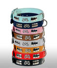 LEATHER DOG COLLAR,STAFFY BULL TERRIER DESIGNER DOG COLLAR+KNOT(CHROME),8 COLORS