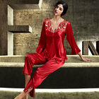 Red Silk Blend 2pcs Lady Long Sleeves Sleep wear/Clothes Pajama sets M/L/XL/XXL