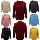 New Ladies Knitted 3 Button POLO Neck Pullover Sweater Plus Sizes Jumper Top UK