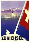 Classic Vintage Style Switzerland Cruise Ship Travel Poster Print Picture A3 A4
