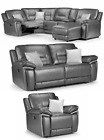 Henry Manual Recliner Corner RH LH Grey Leather Sofa Luxury With Drinks Holder