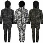 Kids Tracksuit Geometric Camo Print Fleece Hood Top Jogging Bottoms Sizes 3-14 Y