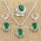925 Silver Cut Emerlad Crystal Hollow Necklace Earring Ring Charms Jewellery Set