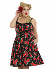 HOT TOPIC RETRO BLACK/RED FLORAL PLUS SIZE SWING DRESS , NWT