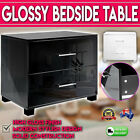High Gloss Two Drawers Bedside Table White Black