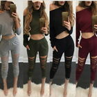 Ladies Fashion Casual Sweatshirt Hoodie&Pant 2PCs Ripped Tracksuit Athleisure