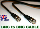BNC Male Plug to BNC Male Plug Cable Coaxial CCTV RG59 1M & 0.5M - UK Stock