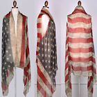 New Patriotic Vintage USA AMERICAN Flag Vest Kimono Ruana Scarf Long 4th of july