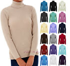 Ladies Polo Neck Jumper Long Sleeve Ribbed Turtle Neck Top UK 8-16 & 19 Colours.
