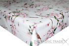 Flower Robin Birds Pink White PVC Tablecloth Vinyl Oilcloth Kitchen Dining Table