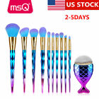 US 10Pcs Powder Makeup Brush Set Contour Face Eye Shadow Lip