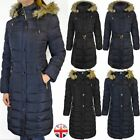 Womens Ladies Long Coat Winter Warm Jacket Park Faux Fur Quilt Puffer Plus Size