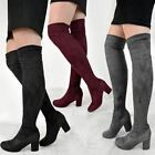 Womens Ladies Black Low Block Heel Over The Knee Thigh Boots Winter Size UK
