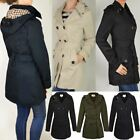 New Womens Mac Coat Trench Jacket Double Breasted Belted Summer Outerwear Size