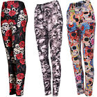 HALLOWEEN SKULL DAY OF THE DEAD LEGGINGS SUGAR SKULL FANCY DRESS ROSE OUTFIT