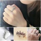 Fashion Women's Princess Queen Crown Wedding Design Pearled Crystal Alloy Ring