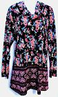 NEW PLUS 1X 2X LONG SLEEVE COWL NECK BLACK FLORAL PRINT KNIT TUNIC TOP SHIRT NEW