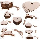 10x Blank Christmas Tree Decorations Wooden Shapes Ornaments Craft Xmas Gifts