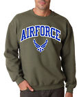 AIR FORCE ARCHED MILITARY GREEN CREW NECK Sweatshirt Wings USAF Airforce