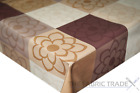 Petals in Squares Brown Cream PVC Tablecloth Vinyl Oilcloth Kitchen Dining Table
