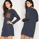 Denim Blue French Terry Shift W/Faux Suede Pocket and Lace Up Long Sleeves S-L
