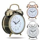 Night light Classic Silent Metal Double Bell Desk Alarm Clock Movement Bedside