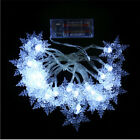 1Strand 20Heads Festival Decor LED Battery Box Holiday Snowflake Lights String