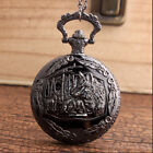 Retro Steampunk Bronze Wolf Quartz Pocket Watch Necklace Pendant Chain Women Men image