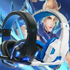 White Blue 3.5mm Gaming Headset Mic LED Headphones Stereo Surround For PC B2
