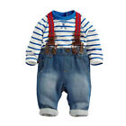 3PCs/Set Toddler Infant Baby Boys Stripes Shirt+Jeans Bib Pants Overalls Outfits