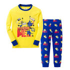 NEW KIDS TODDLER LONG SLEEVE PAJAMAS SLEEPWEAR SETS MINION T-SHIRT+PANTS OUTFIT