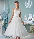 Stock White/Ivory Lace Tea Length Sweetheart Wedding dresss tandard Size 6----18