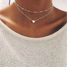 Dot & Line double layered heart pendant choker layering necklace